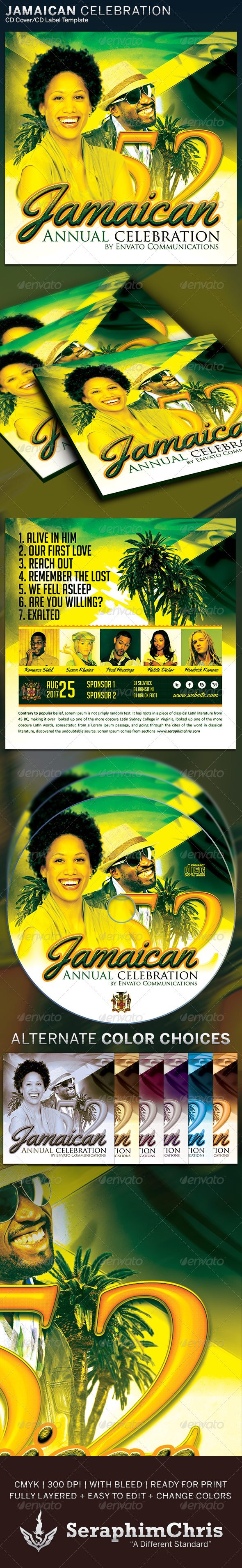 Jamaica Independence Music CD Artwork Template - CD & DVD Artwork Print Templates
