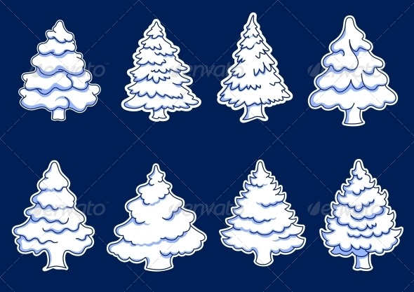 Set of New Year Pines - Christmas Seasons/Holidays