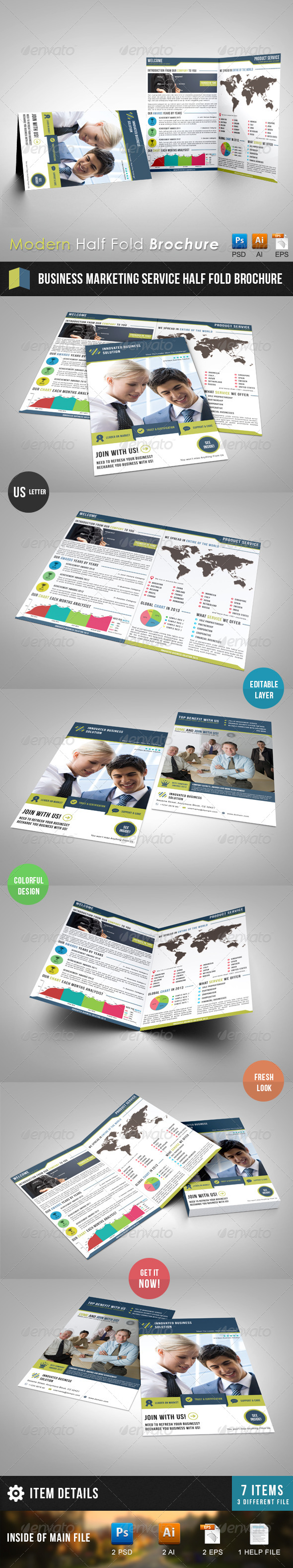Business Marketing Service Half Fold Brochure - Corporate Brochures
