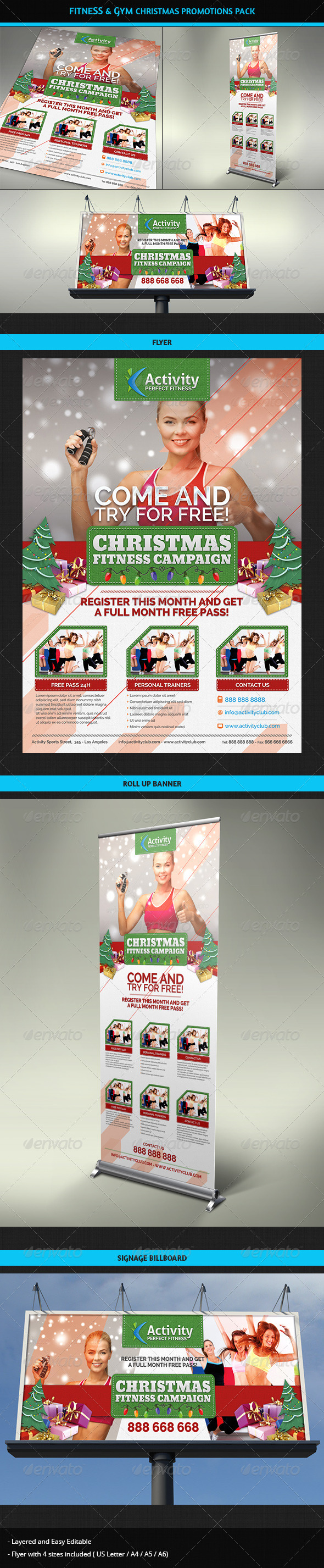 Fitness & Gym Christmas Promotions Pack - Commerce Flyers