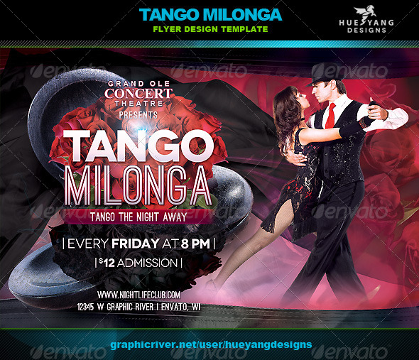 Tango Milonga Flyer - Clubs & Parties Events