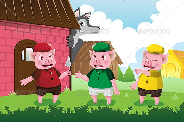 Wolf and Three Little Pigs - Animals Characters