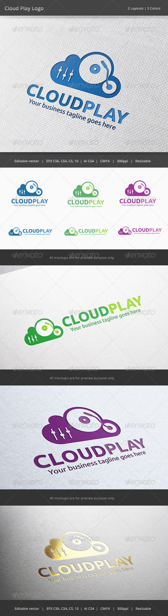 Cloud Music Player Logo - Objects Logo Templates