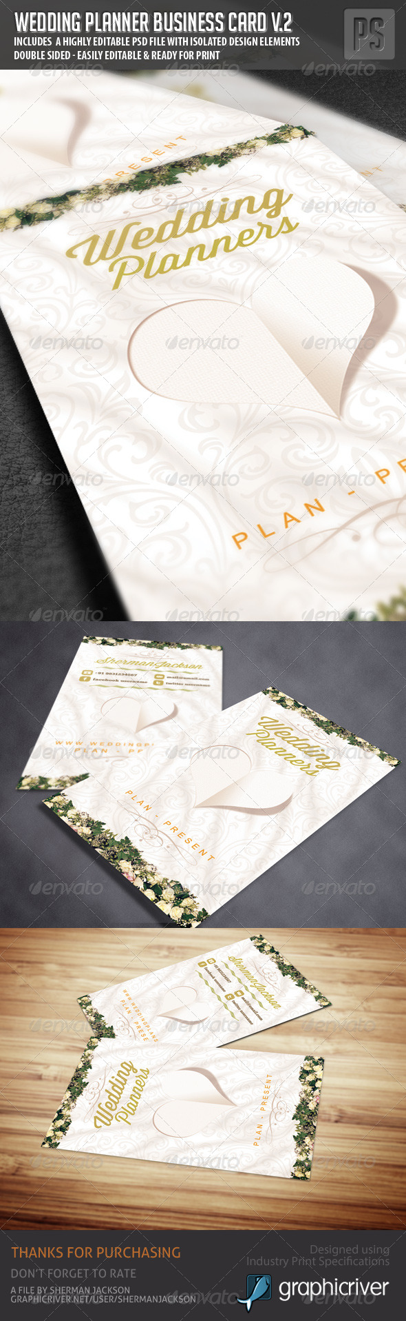 Wedding Planner Business Card V.2 - Industry Specific Business Cards