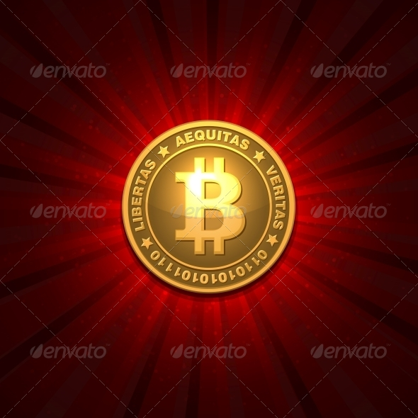 Bitcoin on Red Background - Services Commercial / Shopping