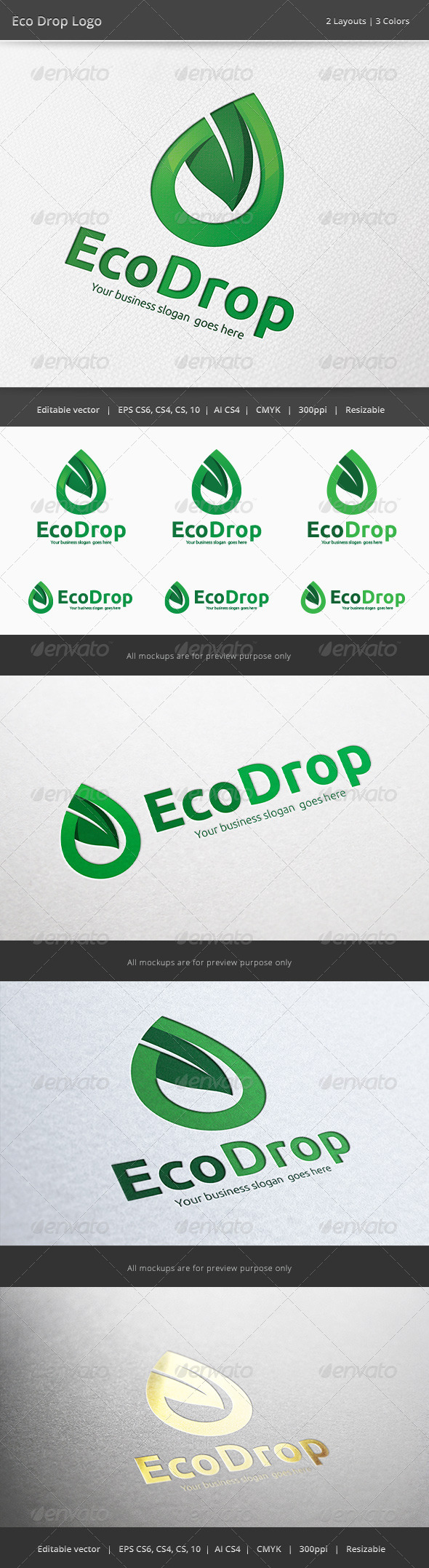 Eco Energy Drop - Nature Logo Templates