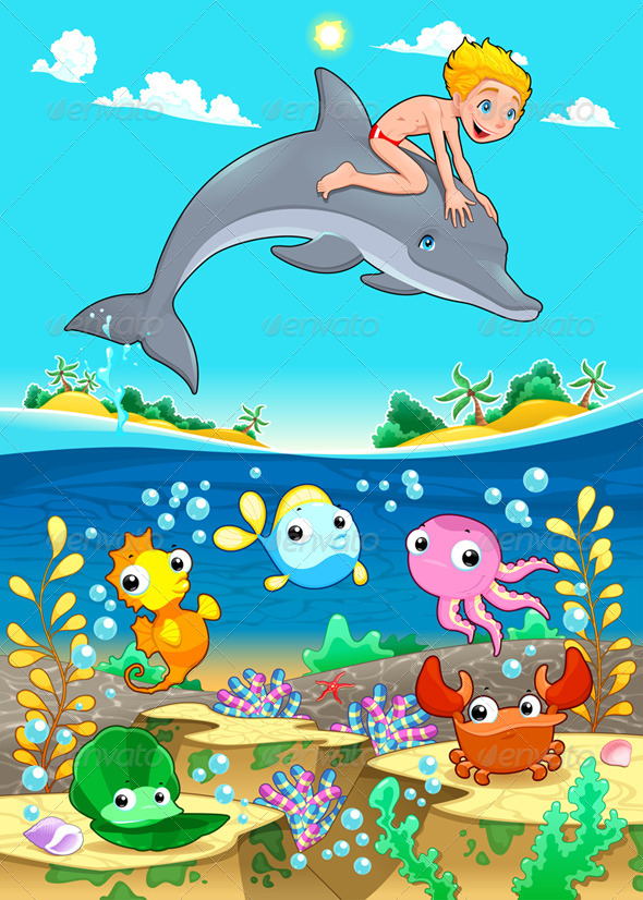 Boy and Dolphin with Fish Under the Sea. - Animals Characters