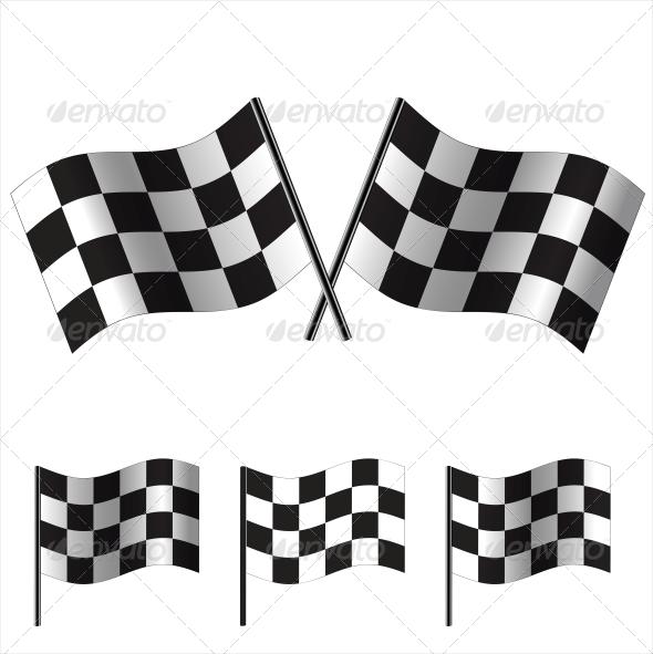 Checkered Racing Flags - Sports/Activity Conceptual