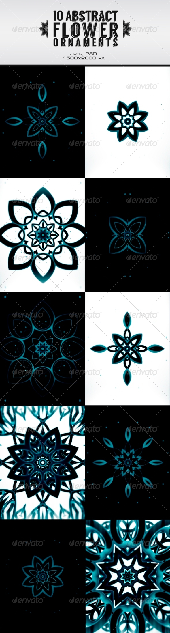 10 Abstract Flower Ornament - Patterns Backgrounds