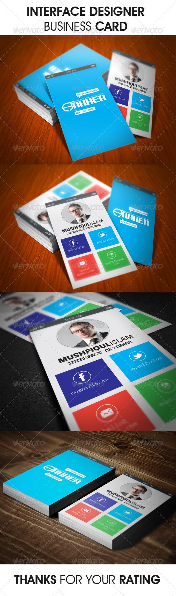 Interface Designer Business Card - Business Cards Print Templates