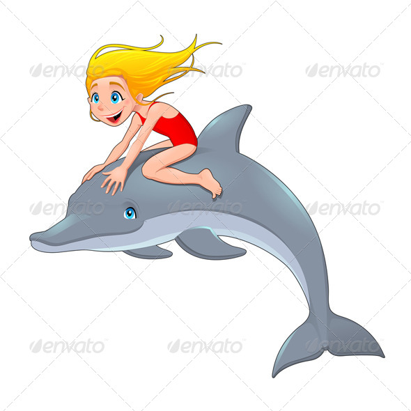 Girl and the Dolphin.  - Animals Characters