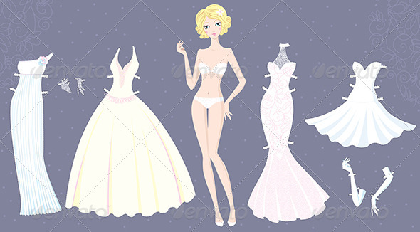 Paper Doll of Girl with Wedding Dresses - People Characters