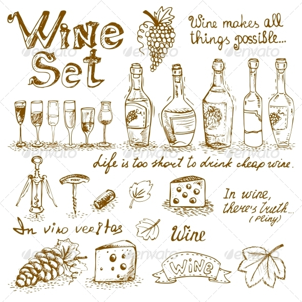 Set of Wine Elements - Decorative Symbols Decorative