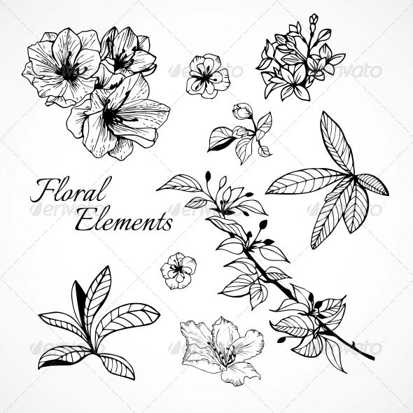 Set of Floral Elements - Decorative Symbols Decorative
