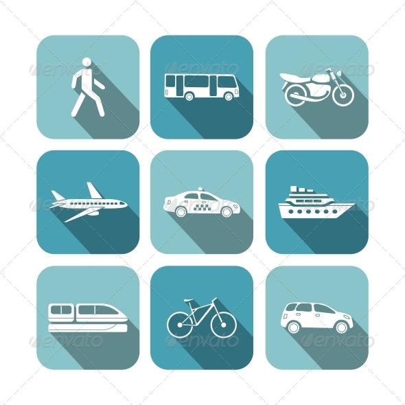 Transportation Icons Set - Web Elements Vectors