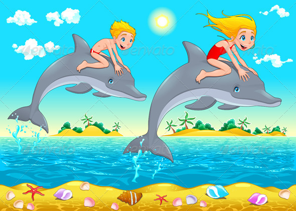 Boy, Girl and Dolphin in the Sea.  - Animals Characters