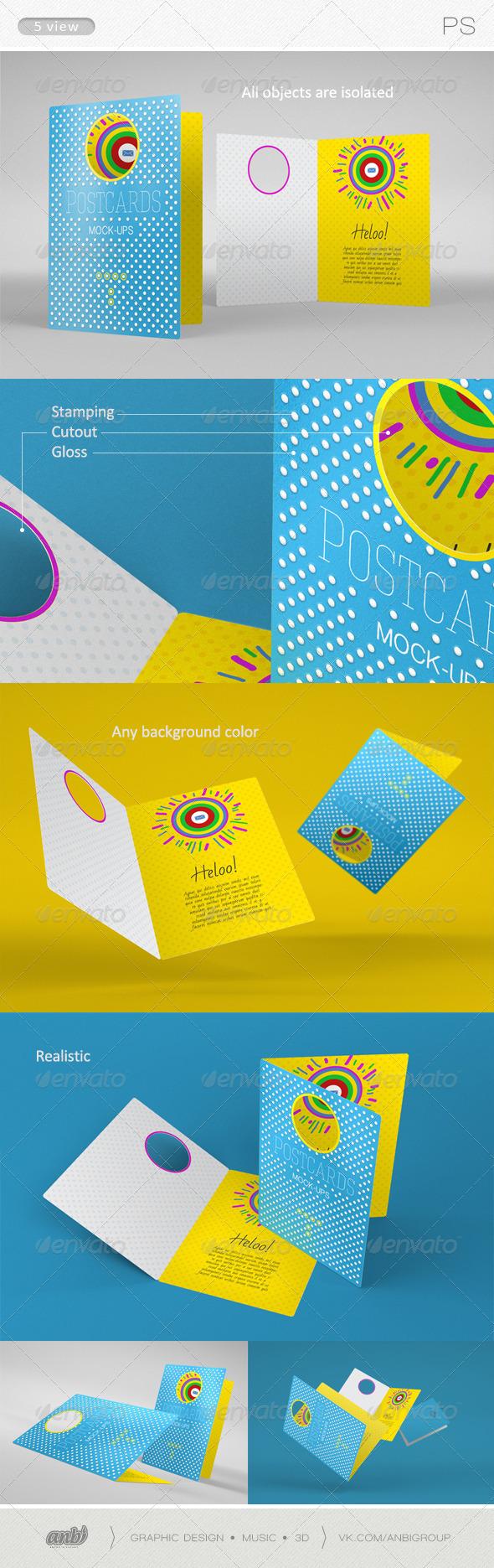 Postcards Mock-ups 2 - Product Mock-Ups Graphics