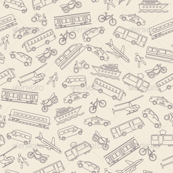 Transportation Seamless Background By Macrovector