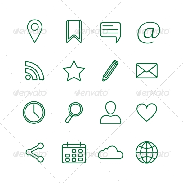 Contour Social Media Icons Set - Web Technology