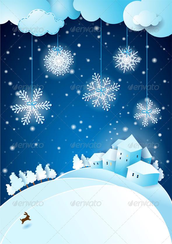Christmas Eve with Snowfall - Christmas Seasons/Holidays