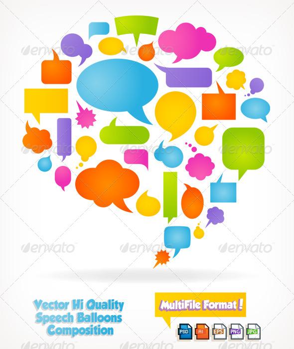 Speech Bubbles Composition - Web Elements Vectors