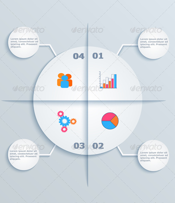 Business Infographics, Circles with Flat Icons - Concepts Business