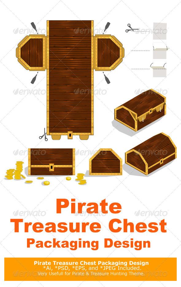 Treasure Chest Packaging Box Design - Decorative Symbols Decorative