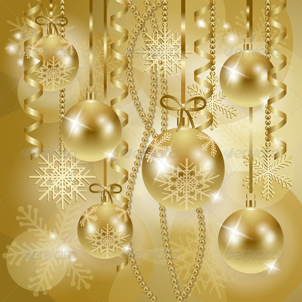 Christmas Background with Baubles in Gold - Christmas Seasons/Holidays