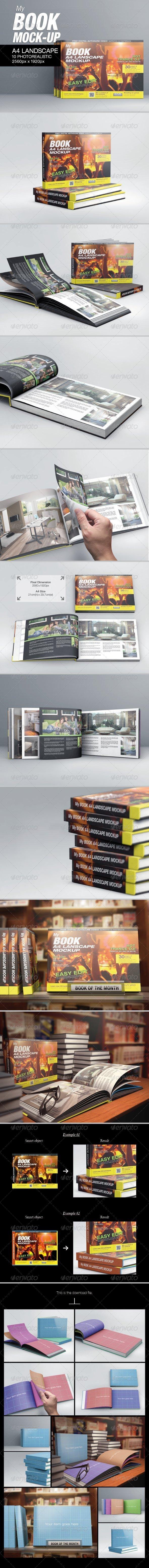MyBook A4 Landscape Mock-Up - Books Print