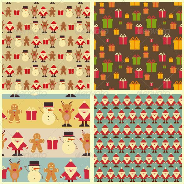 Christmas Seamless Background. Set - Patterns Decorative