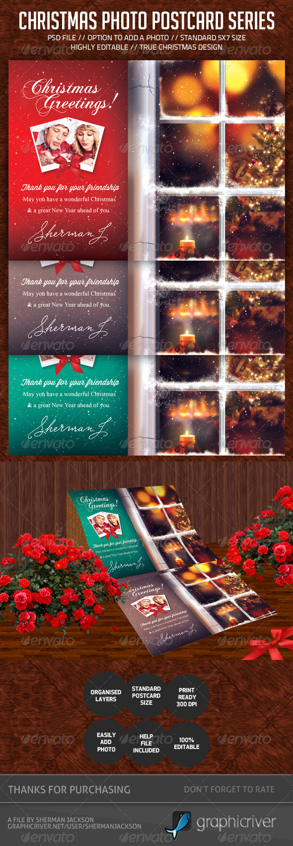 Christmas Postcard V.2 - Holiday Greeting Cards