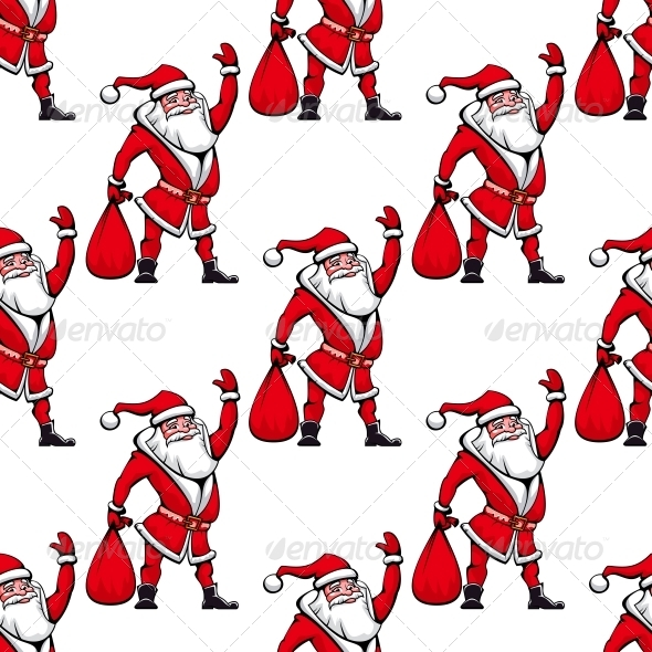 Seamless Pattern with Santa Claus - Christmas Seasons/Holidays