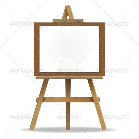 White Canvas on an Easel - Man-made Objects Objects