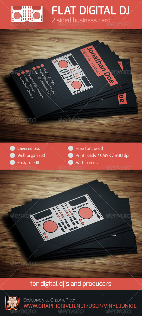 Flat digital dj business card by vinyljunkie graphicriver flat digital dj business card industry specific business cards flashek