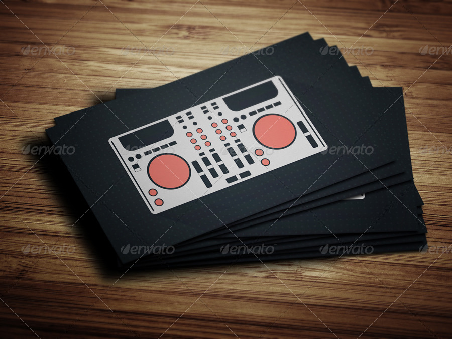 Flat Digital DJ Business Card by vinyljunkie | GraphicRiver