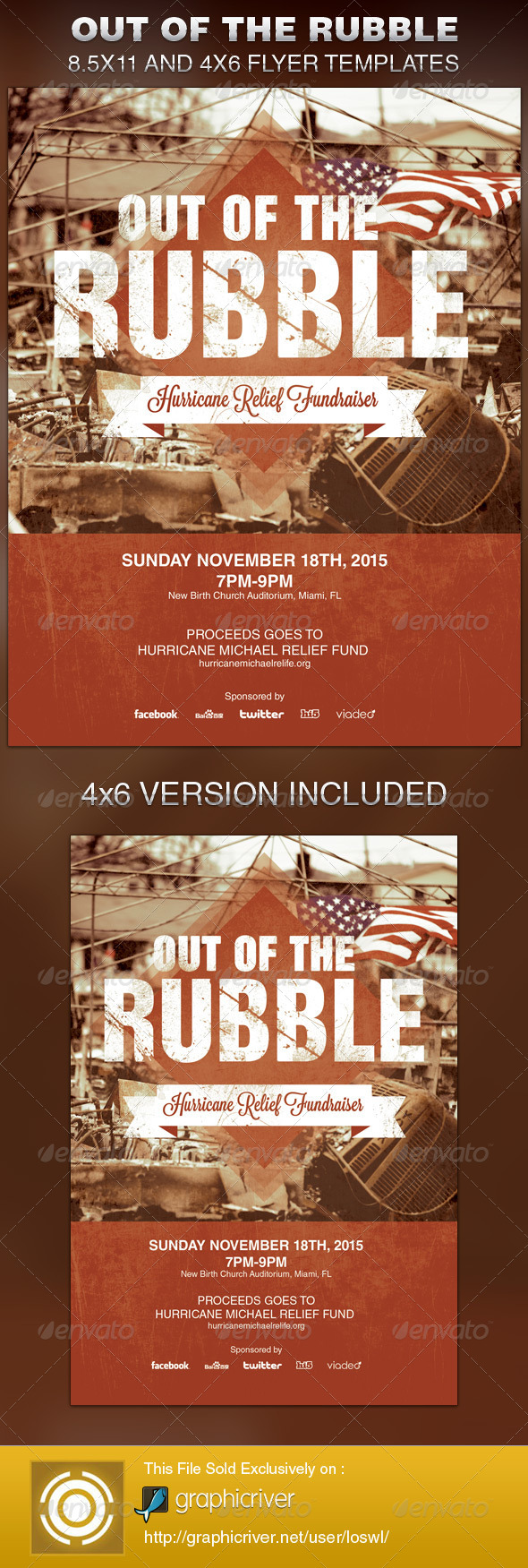 Out of the Rubble Church Flyer Template - Church Flyers