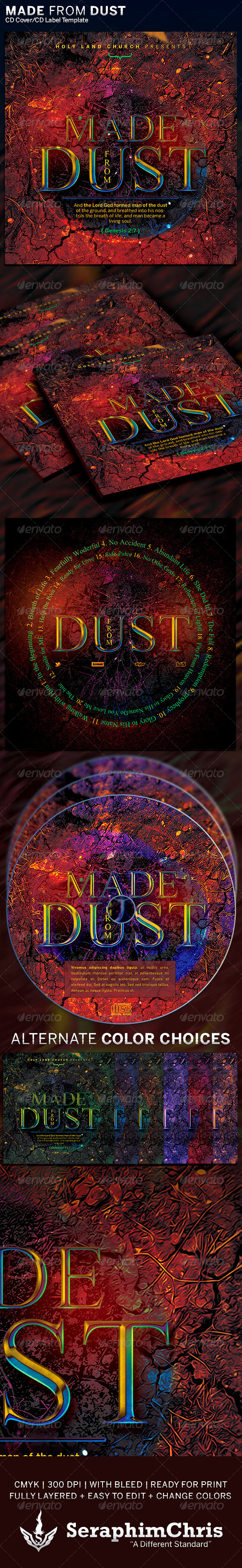 Made from Dust: CD Cover Artwork Template - CD & DVD Artwork Print Templates