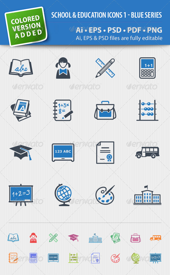 School and Education Icons Set 1 - Blue Series - Web Icons