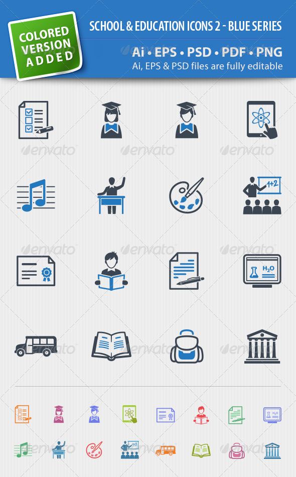 School and Education Icons Set 2 - Blue Series - Web Icons