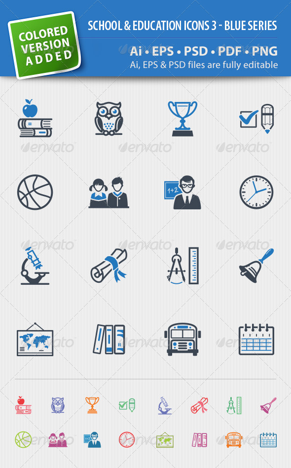 School and Education Icons Set 3 - Blue Series - Web Icons