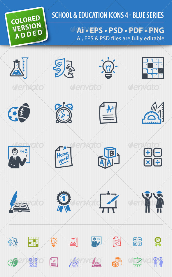 School and Education Icons Set 4 - Blue Series - Icons