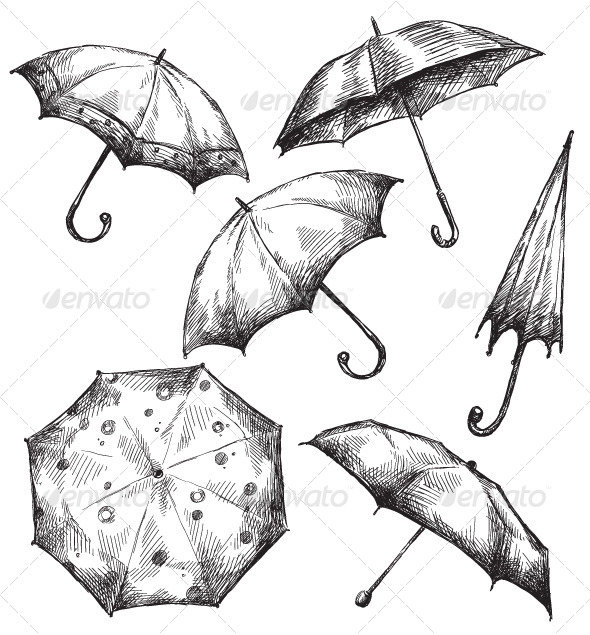 Set of Umbrella Drawings - Man-made Objects Objects