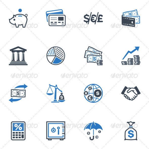 Finance Icons - Blue Series - Business Icons