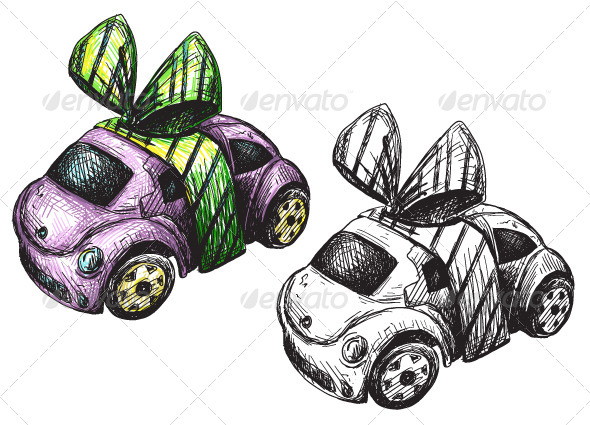 Sketch of a Toy Car - Man-made Objects Objects