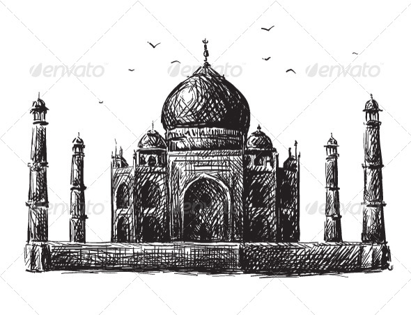Taj Mahal Drawing - Buildings Objects