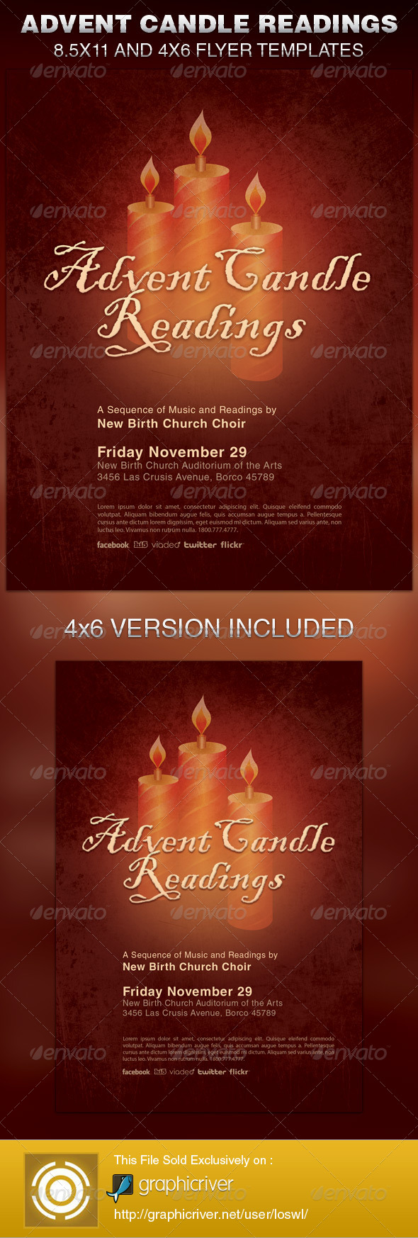 Advent Candle Readings Church Flyer Template - Church Flyers