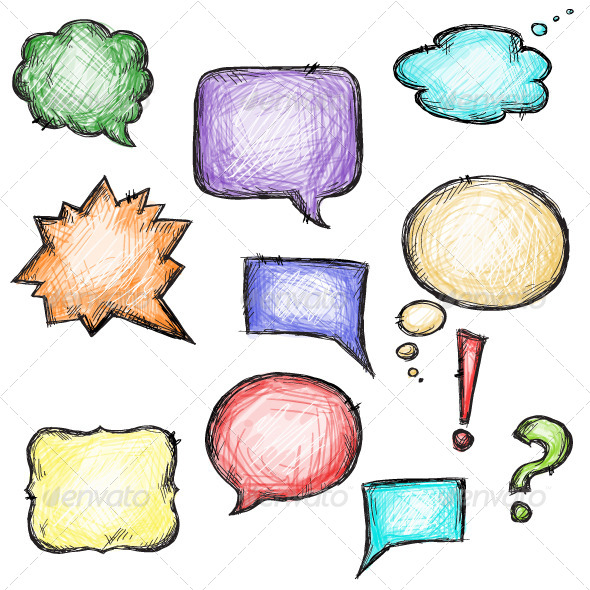 Set of Colorful Speech Bubbles - Miscellaneous Characters