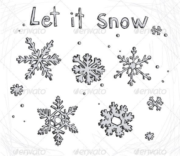 Set of Doodle Snowflakes - Seasons/Holidays Conceptual