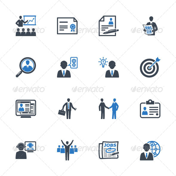 Employment and Business Icons - Blue Series  - Business Icons