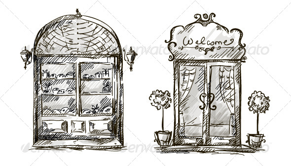 Retro Shop Window and Entrance Door Drawing - Buildings Objects